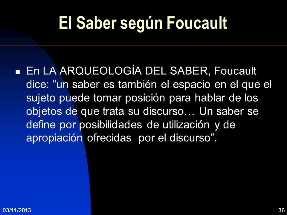 El Saber según Foucault