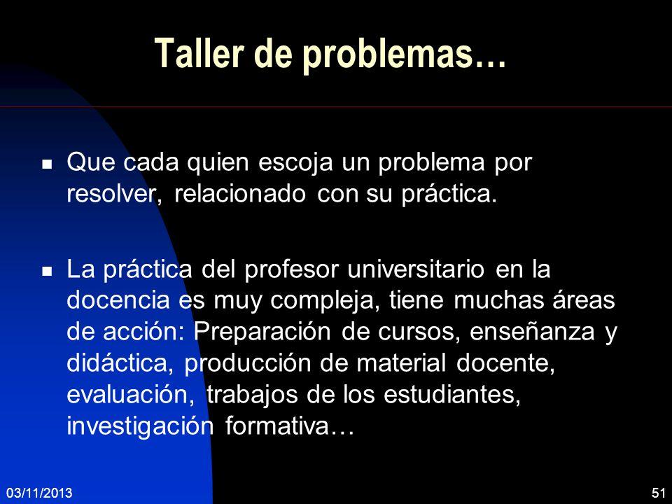 Taller de problemas… Que cada quien escoja un problema por resolver, relacionado con su práctica.