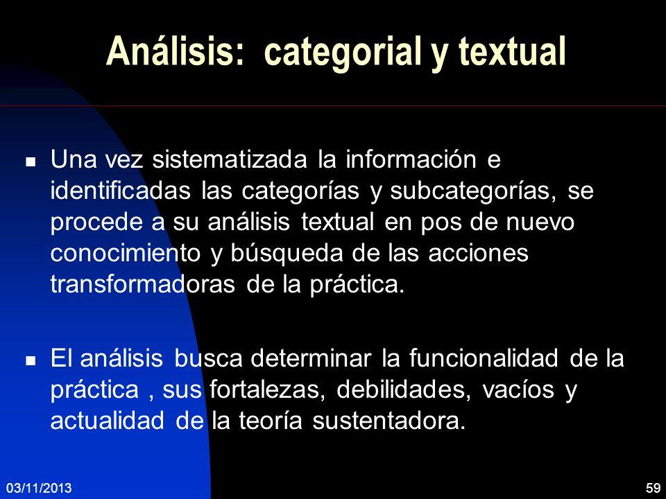 Análisis: categorial y textual