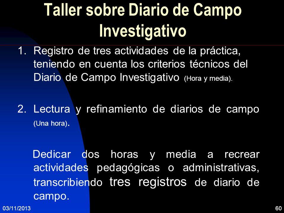 Taller sobre Diario de Campo Investigativo