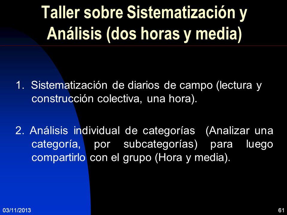 Taller sobre Sistematización y Análisis (dos horas y media)