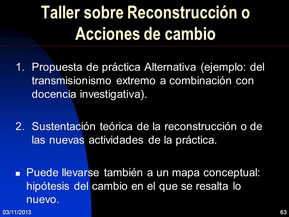 Taller sobre Reconstrucción o Acciones de cambio