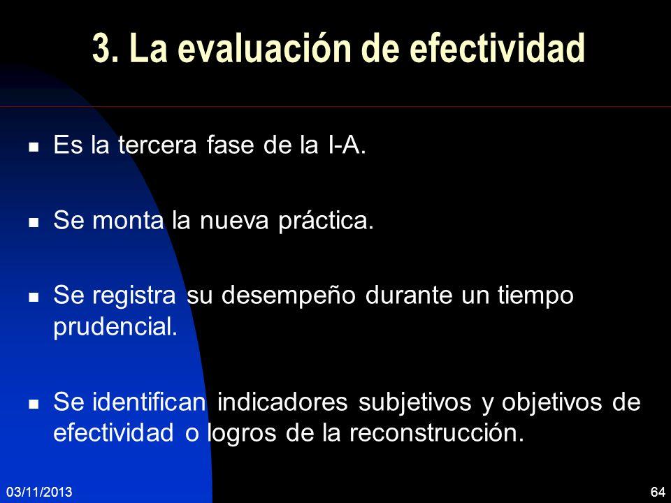 3. La evaluación de efectividad