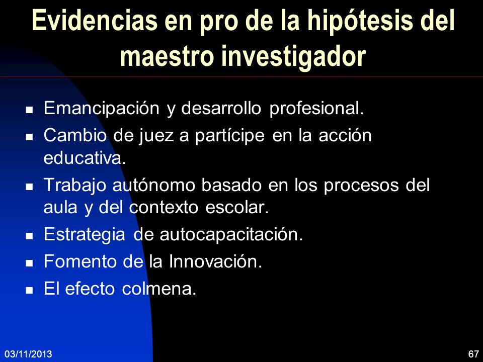 Evidencias en pro de la hipótesis del maestro investigador