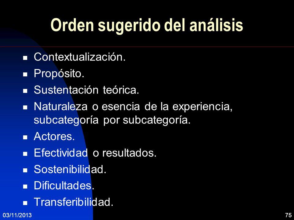 Orden sugerido del análisis