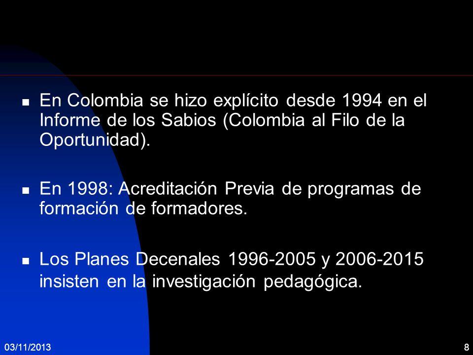 En 1998: Acreditación Previa de programas de formación de formadores.