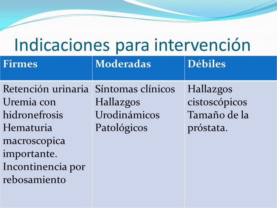 Indicaciones para intervención