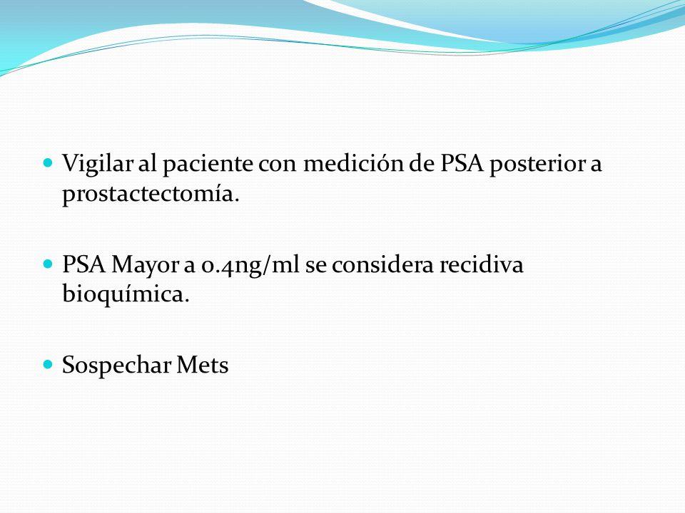 Vigilar al paciente con medición de PSA posterior a prostactectomía.