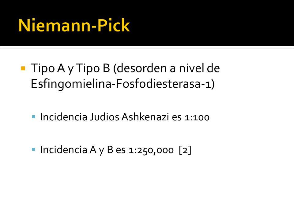 Niemann-Pick Tipo A y Tipo B (desorden a nivel de Esfingomielina-Fosfodiesterasa-1) Incidencia Judios Ashkenazi es 1:100.