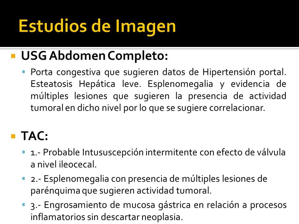 Estudios de Imagen USG Abdomen Completo: TAC:
