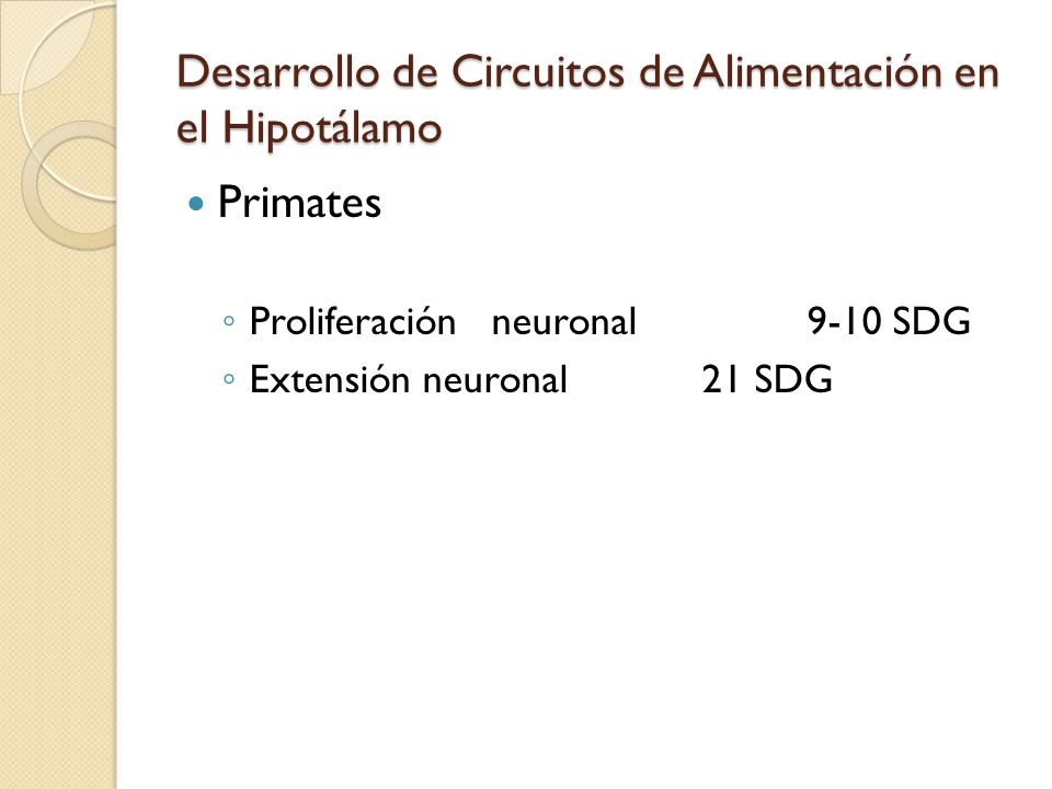 Desarrollo de Circuitos de Alimentación en el Hipotálamo