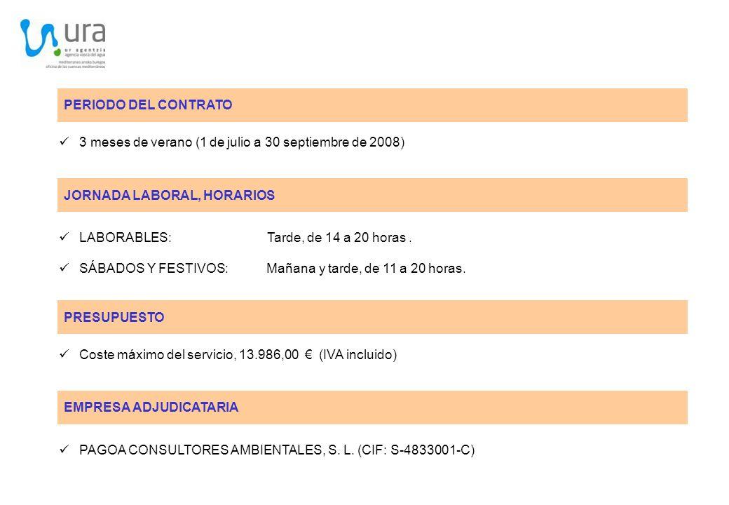 PERIODO DEL CONTRATO 3 meses de verano (1 de julio a 30 septiembre de 2008) JORNADA LABORAL, HORARIOS.
