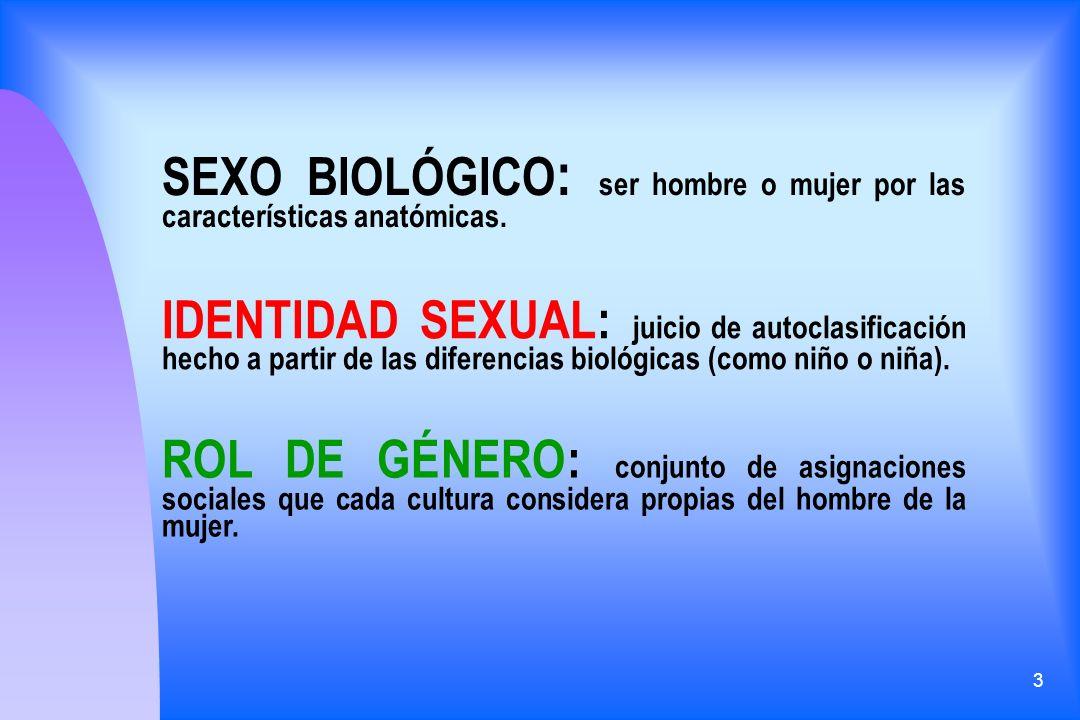 SEXO BIOLÓGICO: ser hombre o mujer por las características anatómicas.