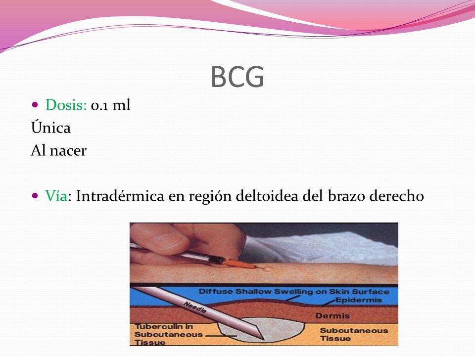 BCG Dosis: 0.1 ml Única Al nacer