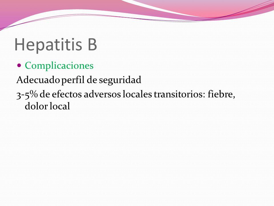 Hepatitis B Complicaciones Adecuado perfil de seguridad