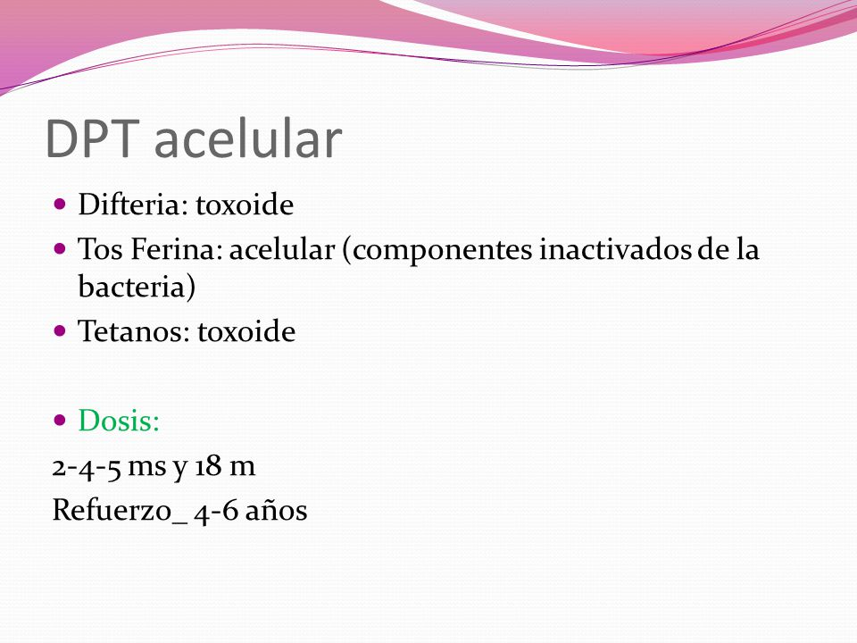 DPT acelular Difteria: toxoide