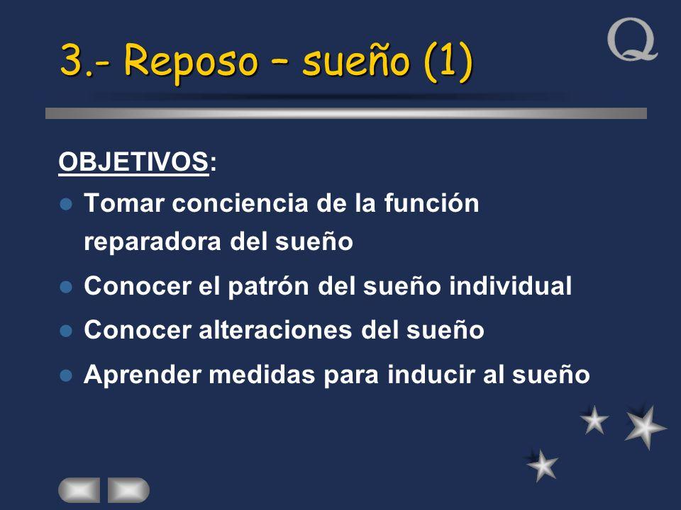 3.- Reposo – sueño (1) OBJETIVOS: