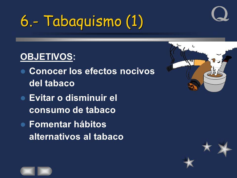 6.- Tabaquismo (1) OBJETIVOS: Conocer los efectos nocivos del tabaco