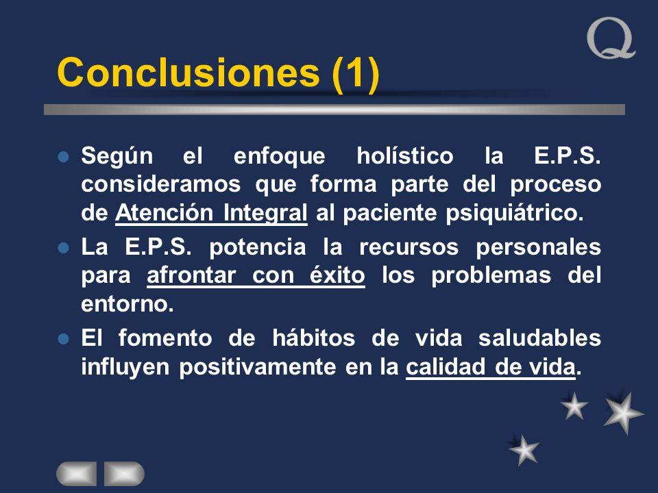 Conclusiones (1) Según el enfoque holístico la E.P.S. consideramos que forma parte del proceso de Atención Integral al paciente psiquiátrico.