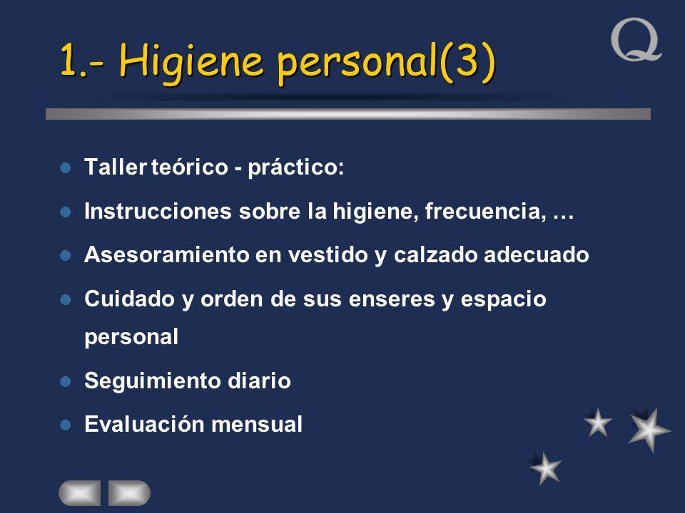 1.- Higiene personal(3) Taller teórico - práctico: