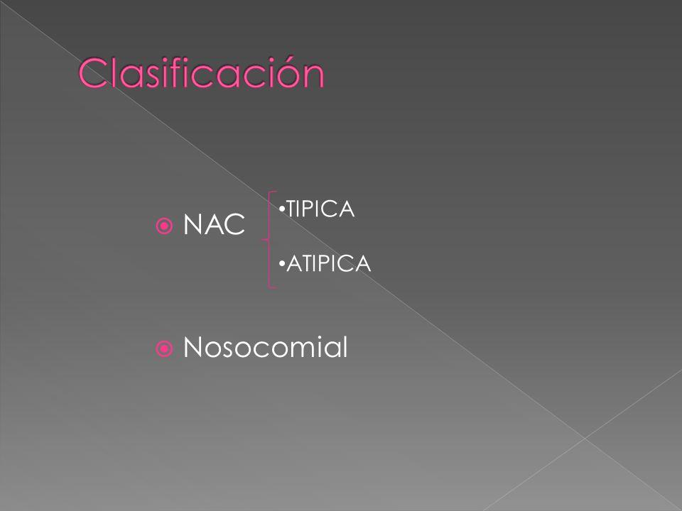 Clasificación NAC Nosocomial TIPICA ATIPICA