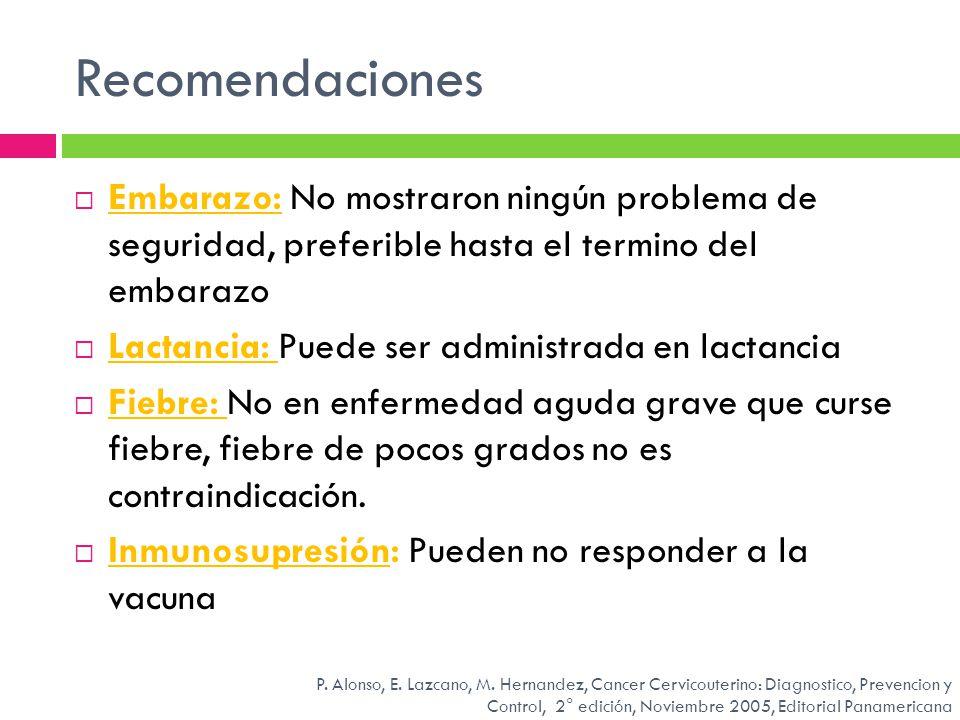 Recomendaciones Embarazo: No mostraron ningún problema de seguridad, preferible hasta el termino del embarazo.