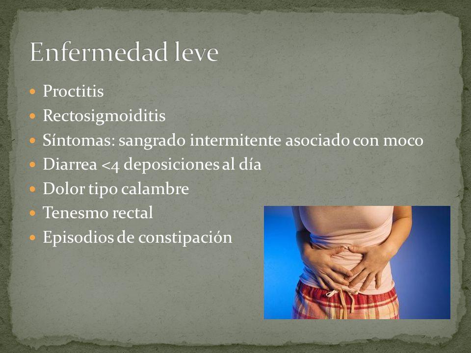 Enfermedad leve Proctitis Rectosigmoiditis