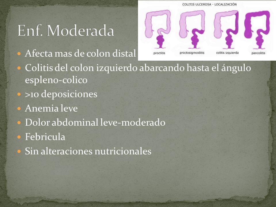 Enf. Moderada Afecta mas de colon distal