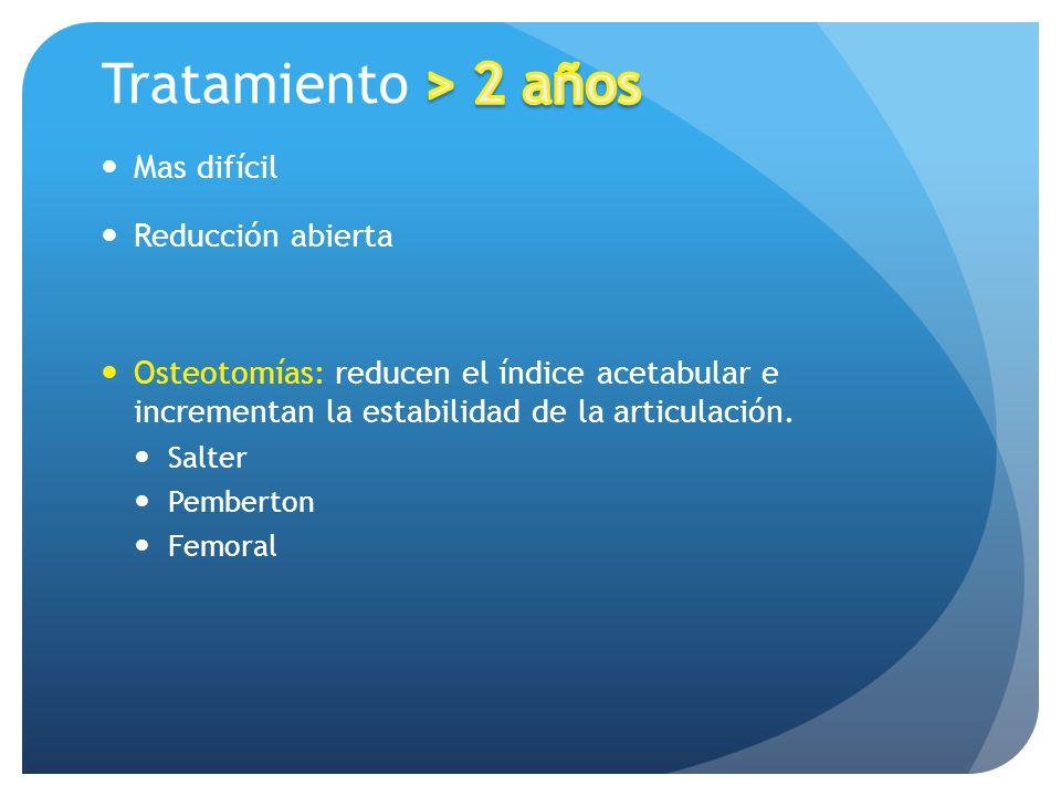 Tratamiento > 2 años Mas difícil Reducción abierta