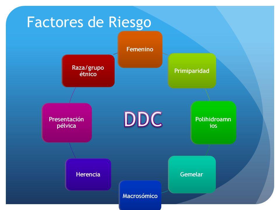 DDC Factores de Riesgo Femenino Primiparidad Polihidroamnios Gemelar