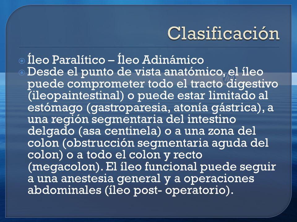 Clasificación Íleo Paralítico – Íleo Adinámico