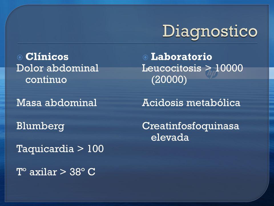 Diagnostico Clínicos Dolor abdominal continuo Masa abdominal Blumberg
