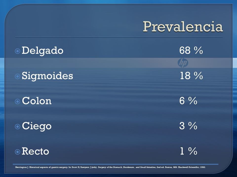 Prevalencia Delgado 68 % Sigmoides 18 % Colon 6 % Ciego 3 % Recto 1 %