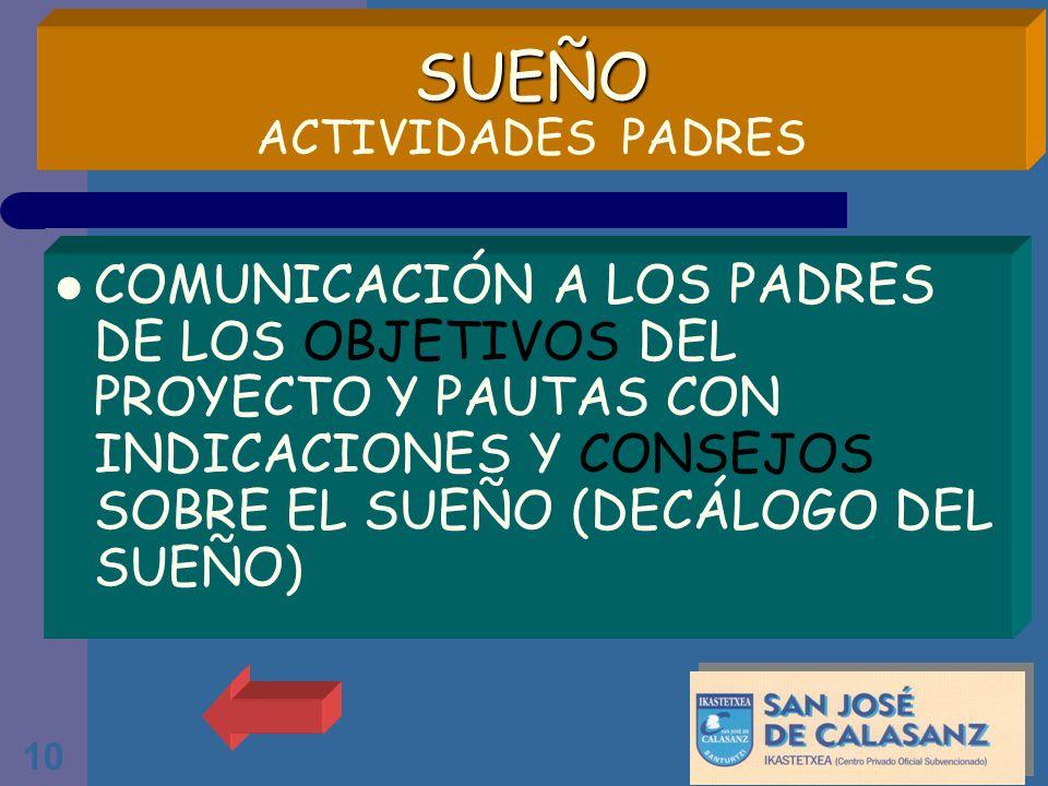 SUEÑO ACTIVIDADES PADRES