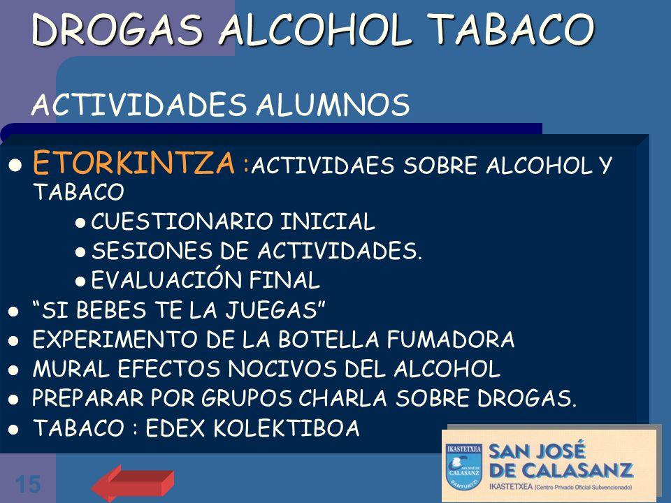 DROGAS ALCOHOL TABACO ACTIVIDADES ALUMNOS