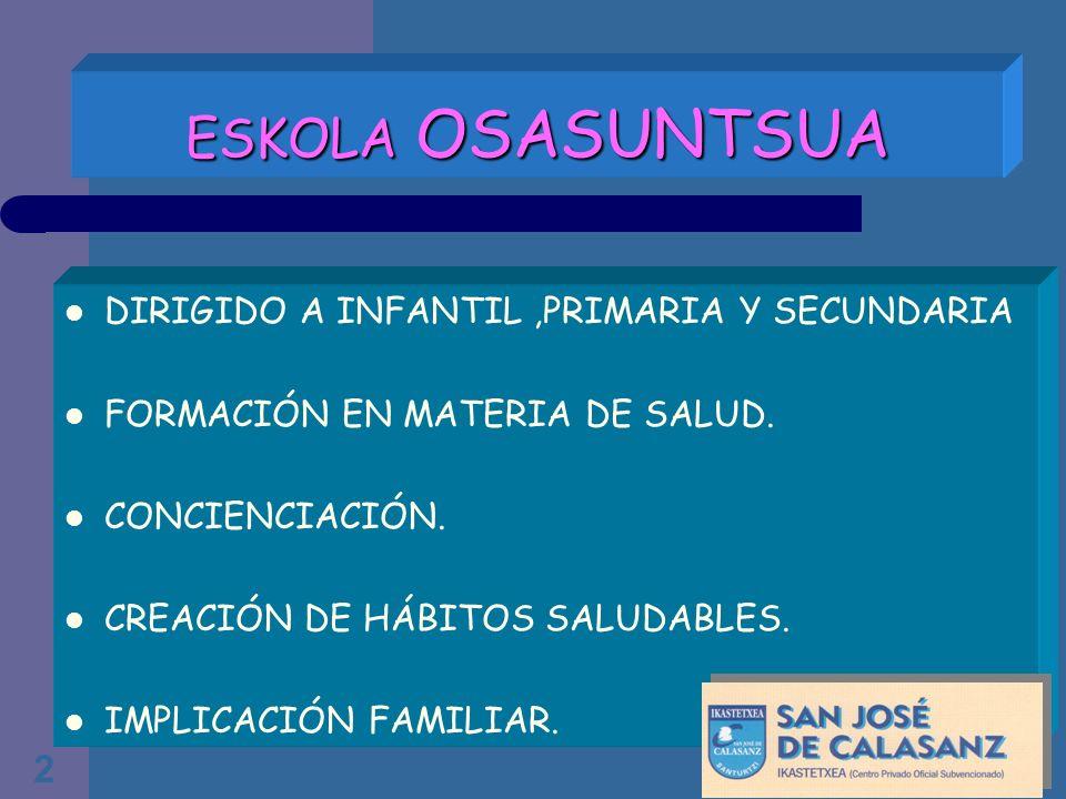 ESKOLA OSASUNTSUA DIRIGIDO A INFANTIL ,PRIMARIA Y SECUNDARIA