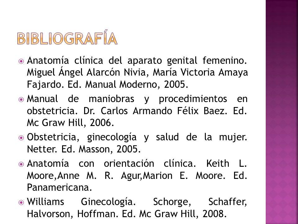 bibliografía Anatomía clínica del aparato genital femenino. Miguel Ángel Alarcón Nivia, María Victoria Amaya Fajardo. Ed. Manual Moderno, 2005.