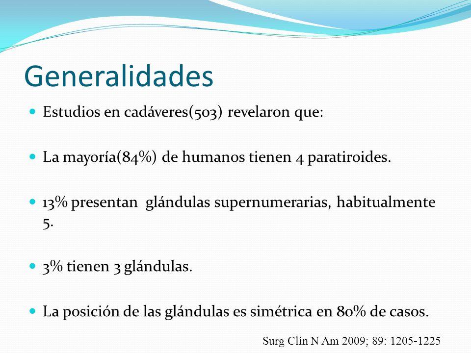 Generalidades Estudios en cadáveres(503) revelaron que: