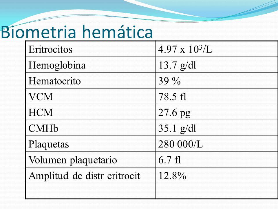 Biometria hemática Eritrocitos 4.97 x 103/L Hemoglobina 13.7 g/dl