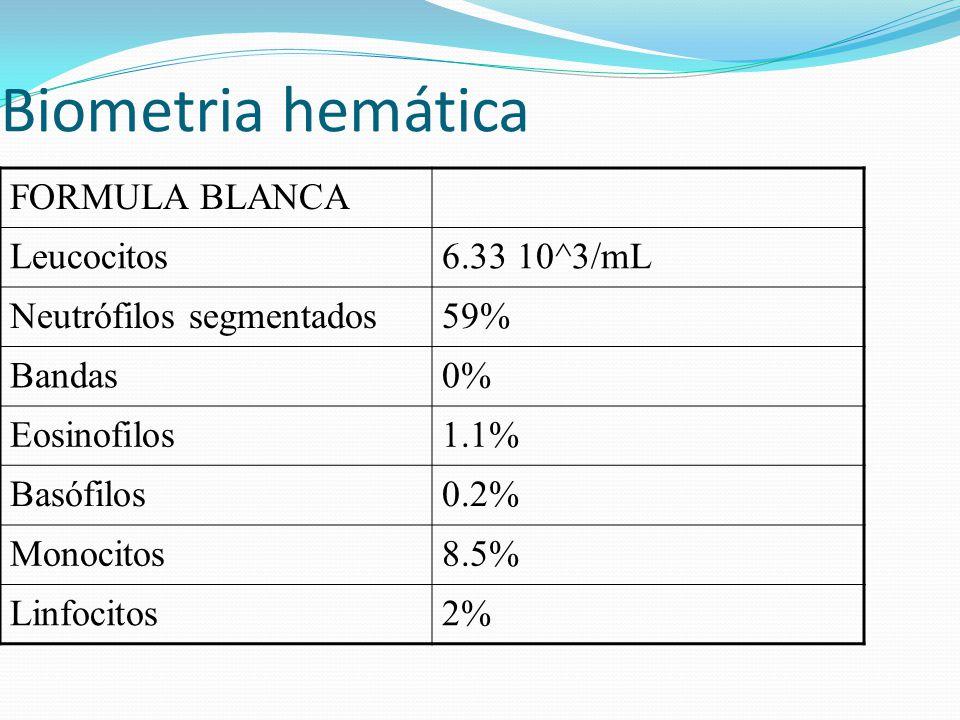 Biometria hemática FORMULA BLANCA Leucocitos 6.33 10^3/mL