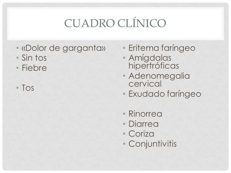 Cuadro clínico «Dolor de garganta» Sin tos Fiebre Tos Eritema faríngeo