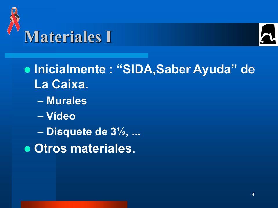 Materiales I Inicialmente : SIDA,Saber Ayuda de La Caixa.