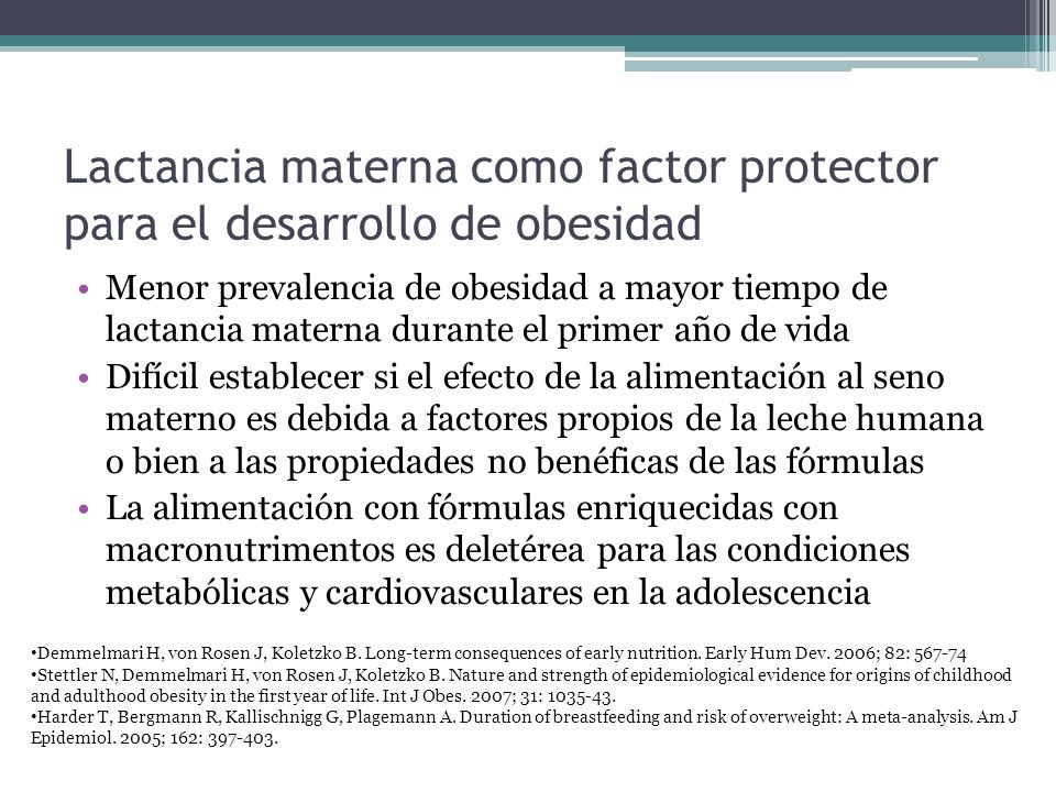Lactancia materna como factor protector para el desarrollo de obesidad