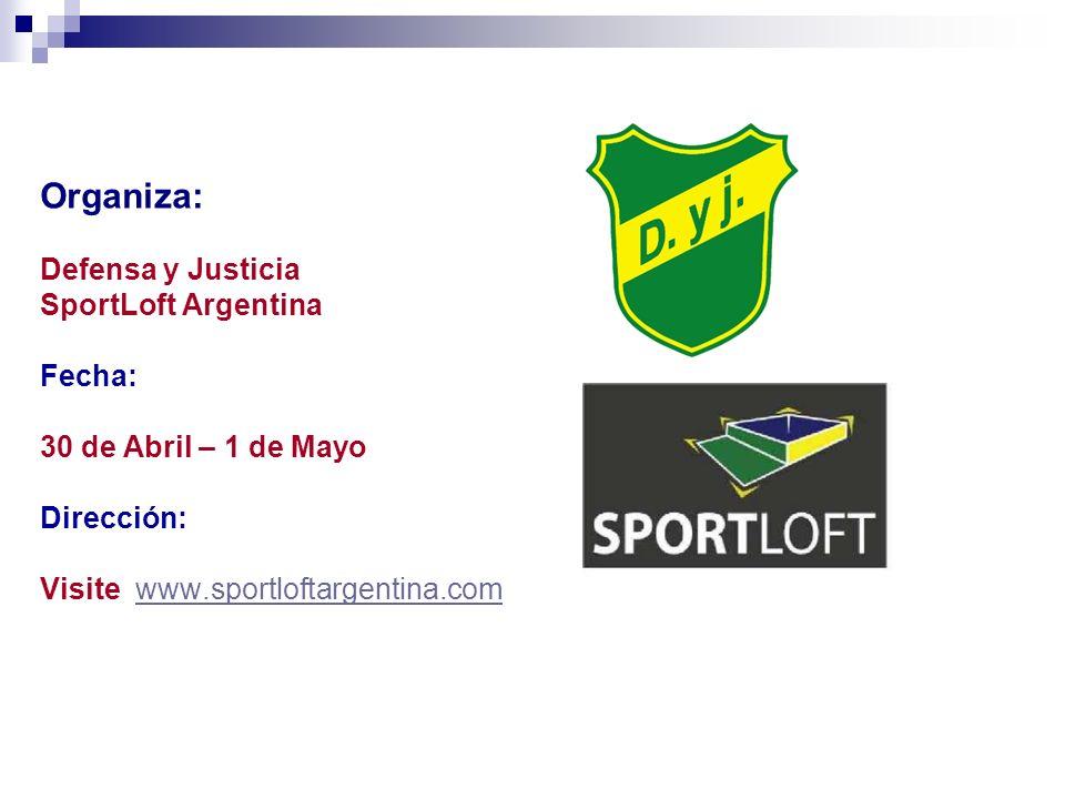 Organiza: Defensa y Justicia SportLoft Argentina Fecha: 30 de Abril – 1 de Mayo Dirección: Visite www.sportloftargentina.com