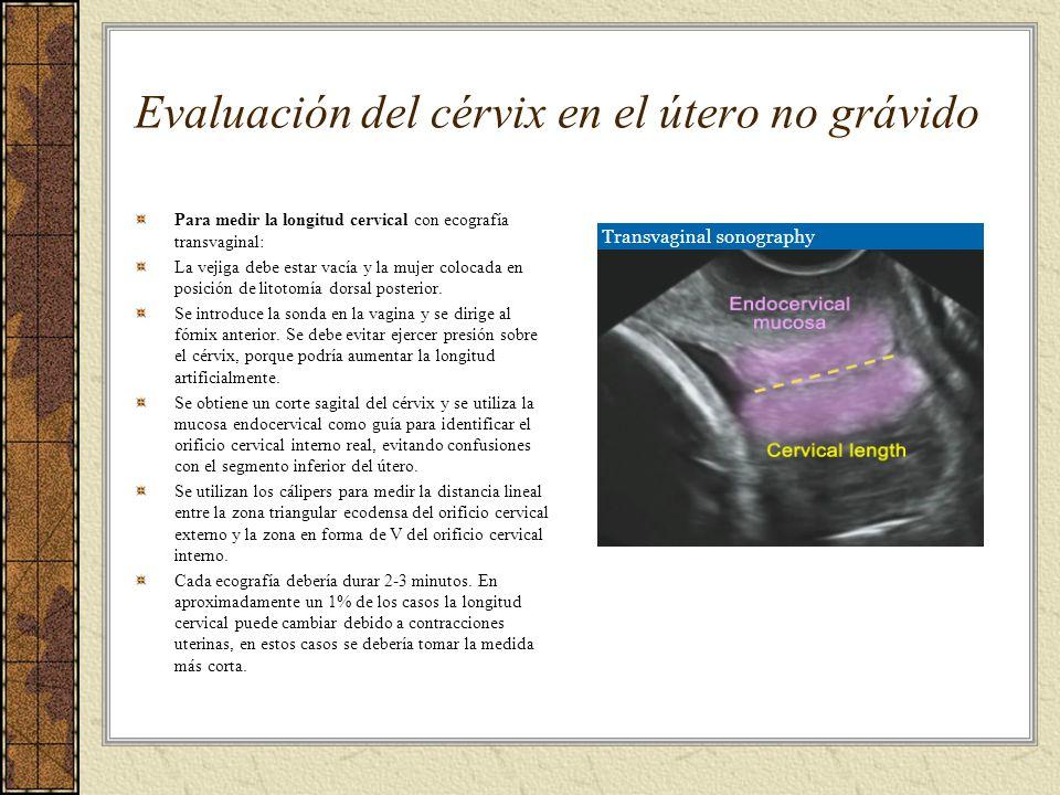 Evaluación del cérvix en el útero no grávido