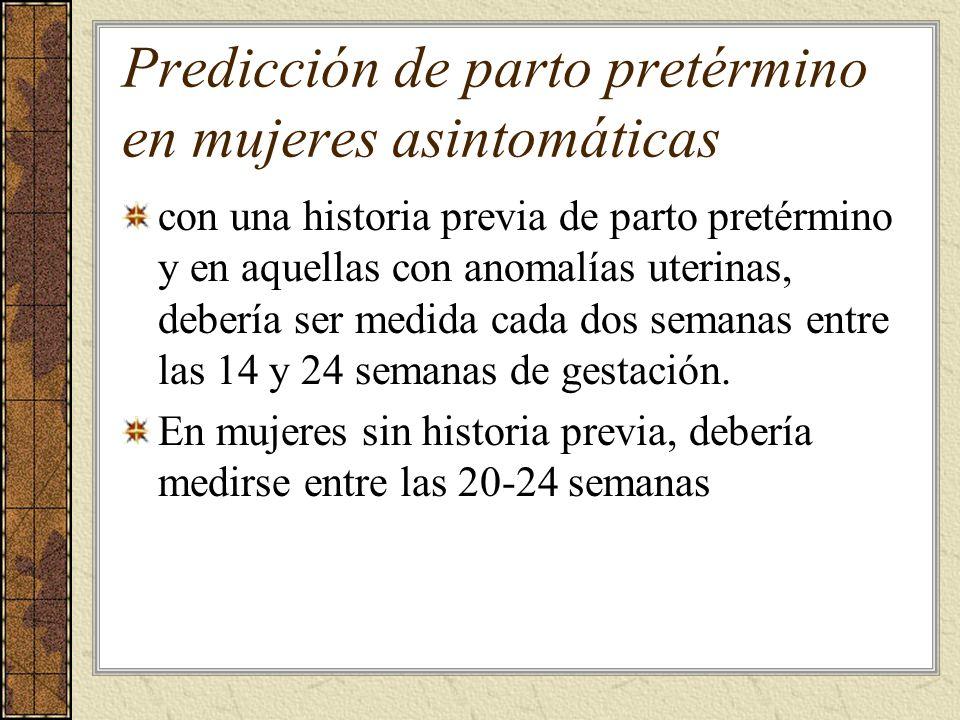 Predicción de parto pretérmino en mujeres asintomáticas