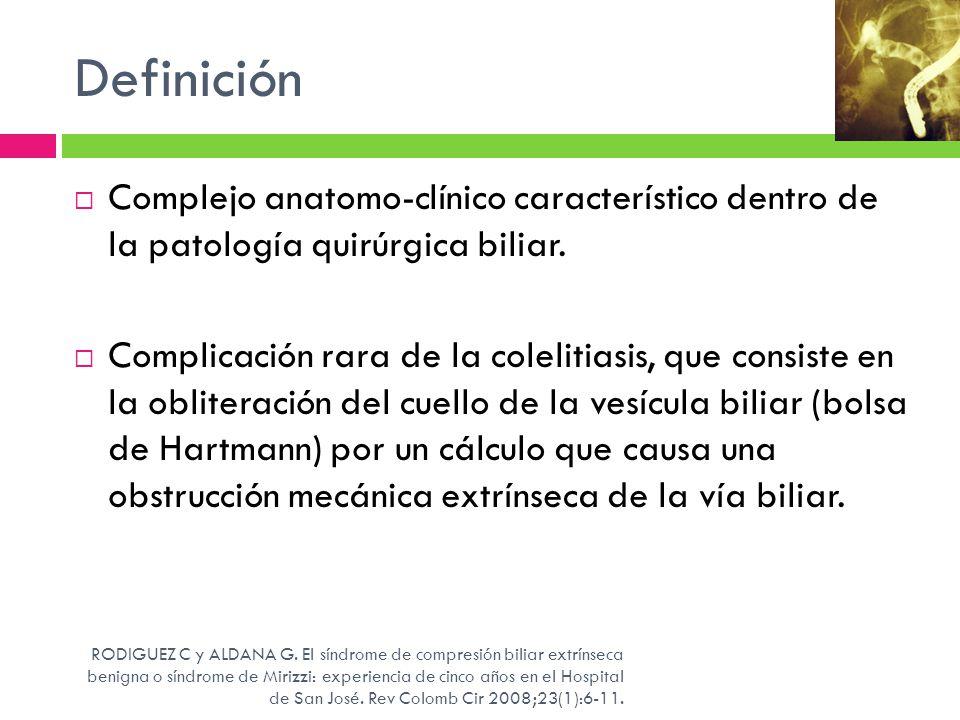 Definición Complejo anatomo-clínico característico dentro de la patología quirúrgica biliar.