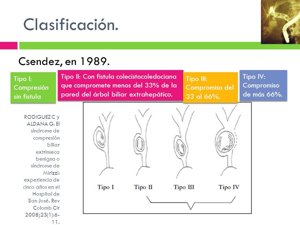 Clasificación. Csendez, en 1989.