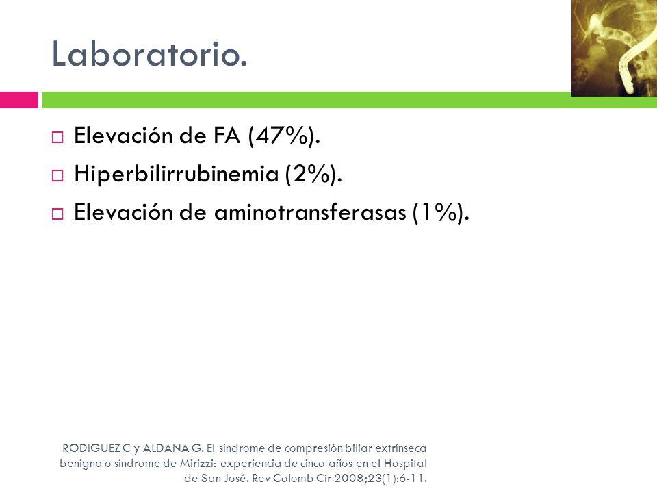 Laboratorio. Elevación de FA (47%). Hiperbilirrubinemia (2%).