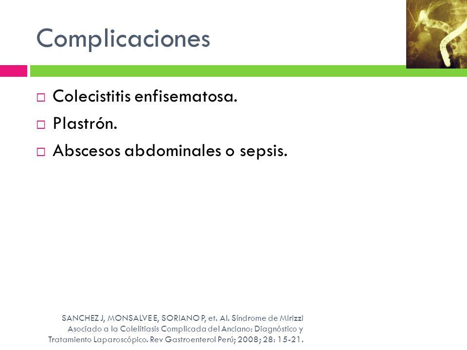 Complicaciones Colecistitis enfisematosa. Plastrón.